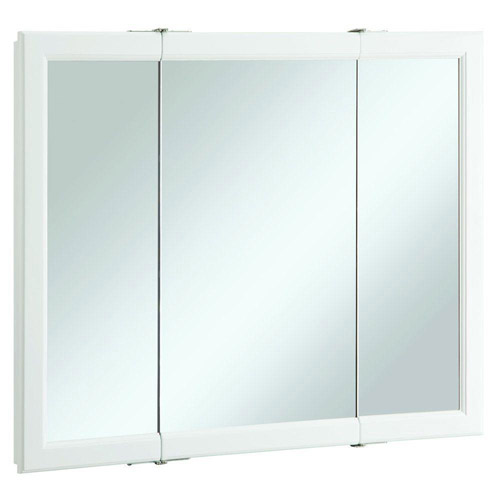 Design House Wyndham White Semi-Gloss Tri-View Medicine Cabinet Mirror with 3-Doors, 36in x 4.75in x 30in - 545103