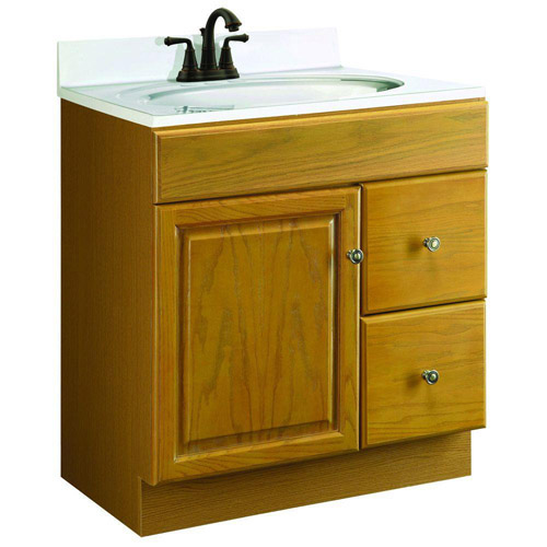 Design House Claremont Honey Oak Vanity Cabinet with 1-Door and 2-Drawers, 30in x 18in x 31.5in  - 545152