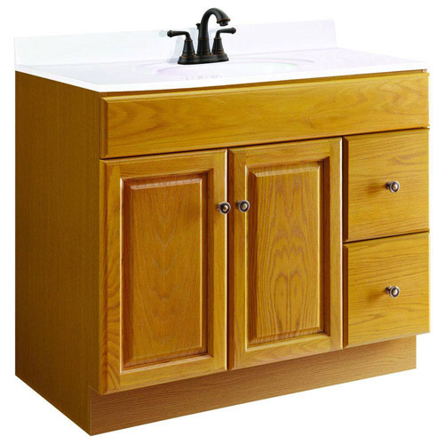 Design House Claremont Honey Oak Vanity Cabinet with 2-Doors and 2-Drawers, 36in x 21in x 31.5in - 545186