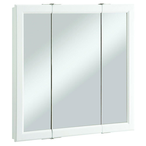 Design House Wyndham White Semi-Gloss Tri-View Medicine Cabinet Mirror with 3-Doors, 30in x 4.75in x 30in - 545293