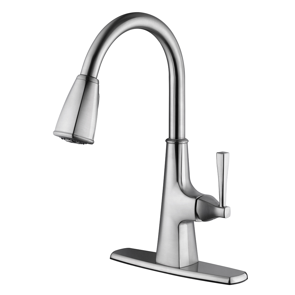 Design House Perth Single Handle Kitchen Faucet with Pull Down Sprayer, Satin Nickel Finish - 546986