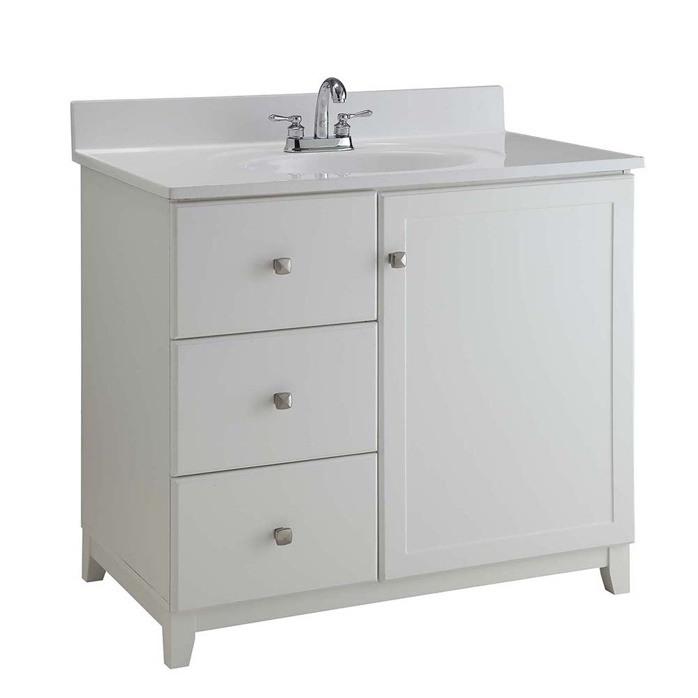 Design House Furniture-Style Vanity Cabinet, 30-inches by 21-inches, Semi-Gloss White - 547141