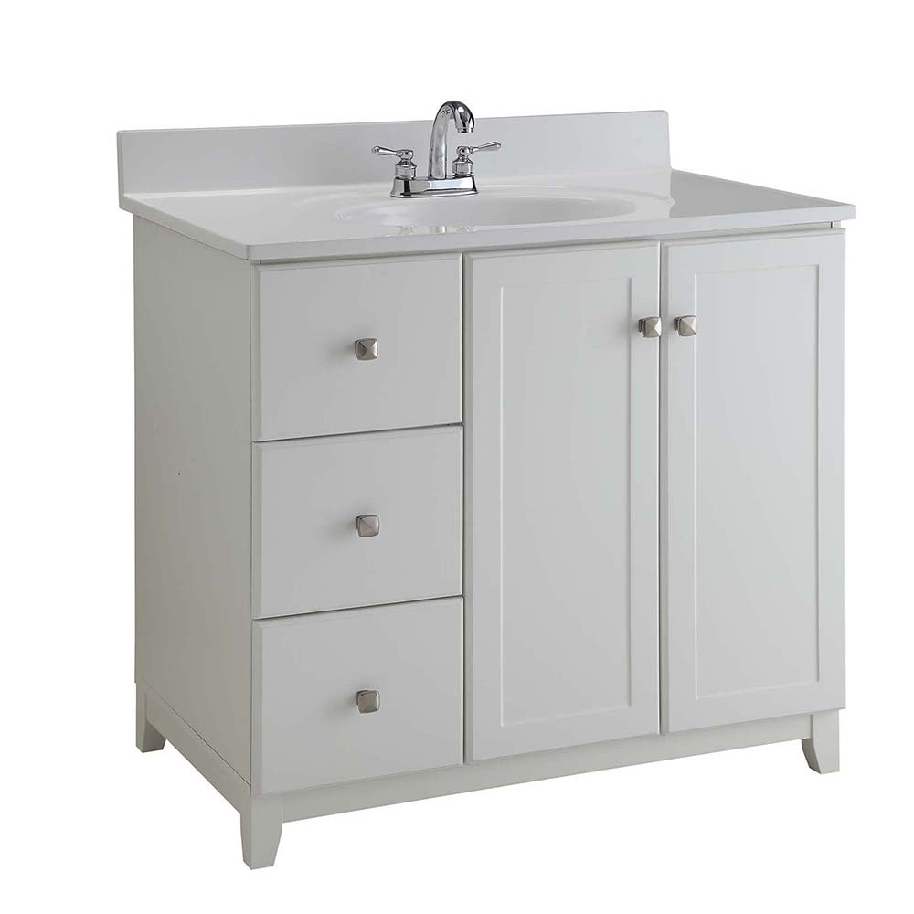 Design House Furniture-Style Vanity Cabinet, 36-inches by 21-inches, Semi-Gloss White - 547166