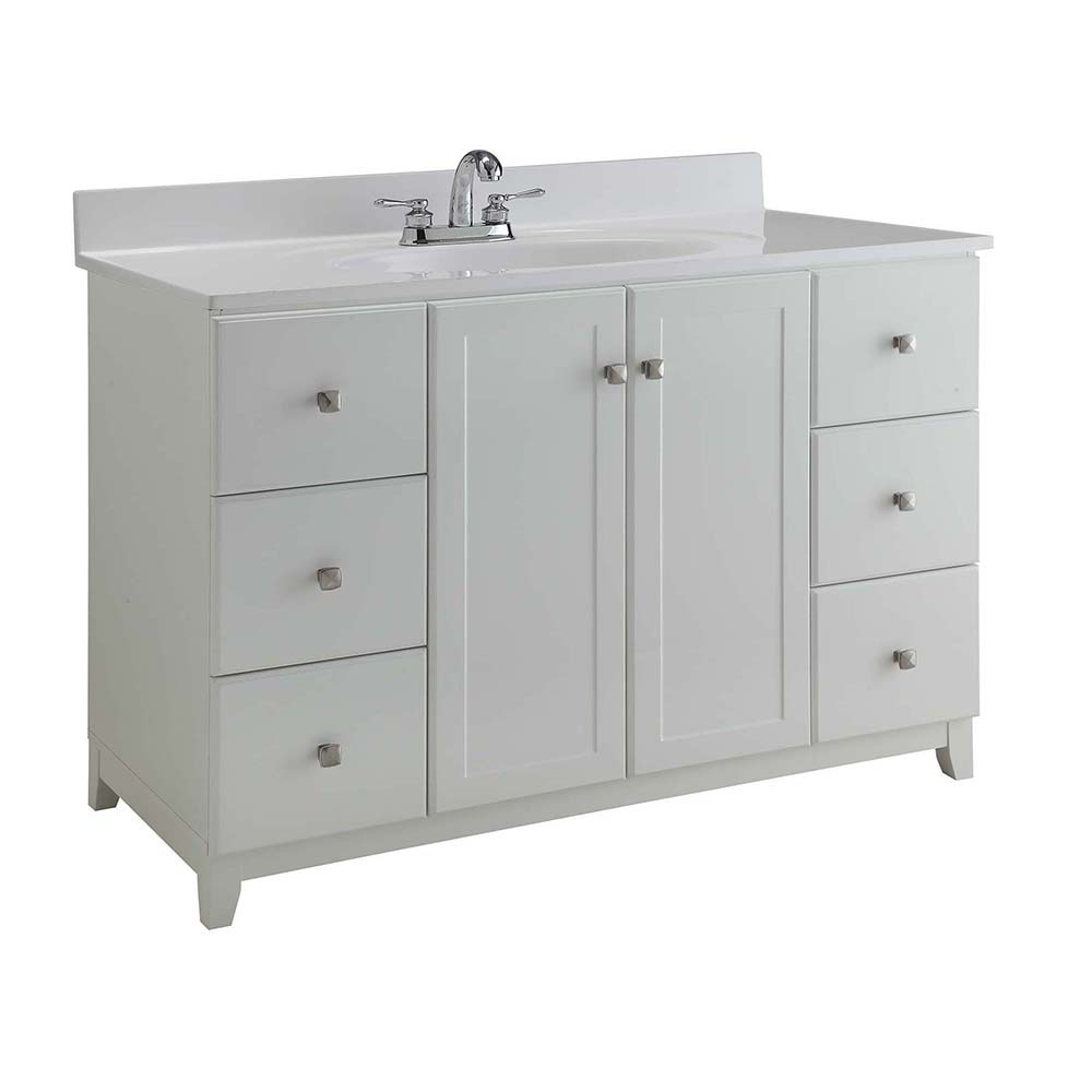 Design House Furniture-Style Vanity Cabinet, 48-inches by 21-inches, Semi-Gloss White - 547182
