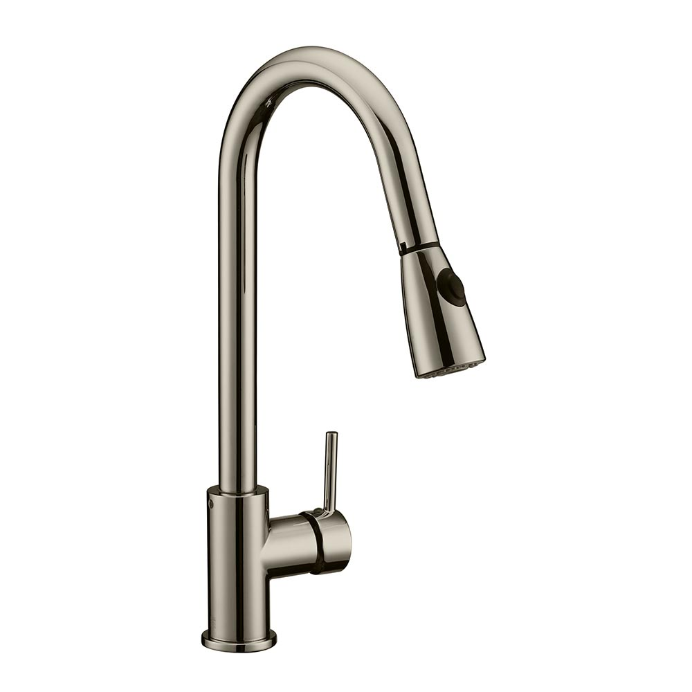 Design House Eastport Single Handle Pull Down Kitchen Faucet, Satin Nickel Finish - 547851