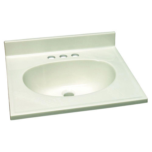 Design House Single Bowl Marble Vanity Top, 19inch by 17inch, White - 551044