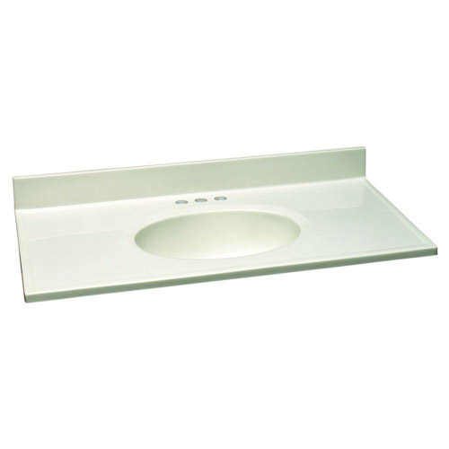 Design House Single Bowl Marble Vanity Top, 49inch by 19inch, White - 551085