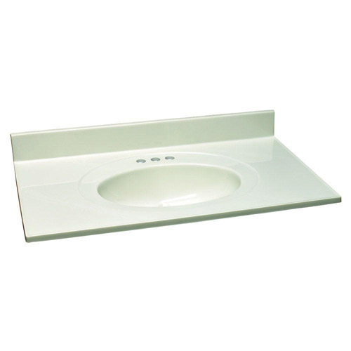 Design House Single Bowl Marble Vanity Top, 31inch by 22inch, White - 551168