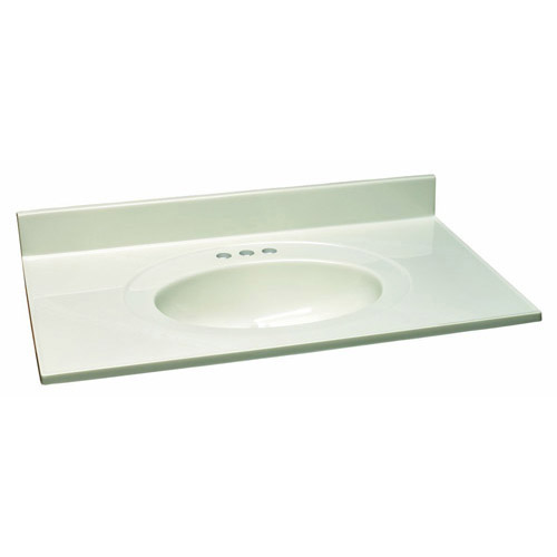 Design House Single Bowl Marble Vanity Top, 37inch by 22inch, White - 551176
