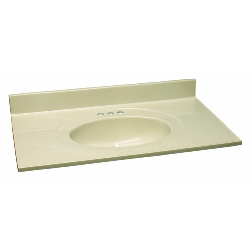 Design House Single Bowl Marble Vanity Top, 37inch by 22inch, Solid White Bone - 551218