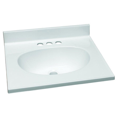 Design House Single Bowl Marble Vanity Top, 19inch by 17inch, Solid White - 551242