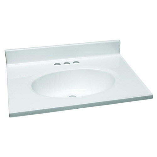 Design house 551267 single bowl marble vanity top 25 inch - 19 inch deep bathroom vanity top ...
