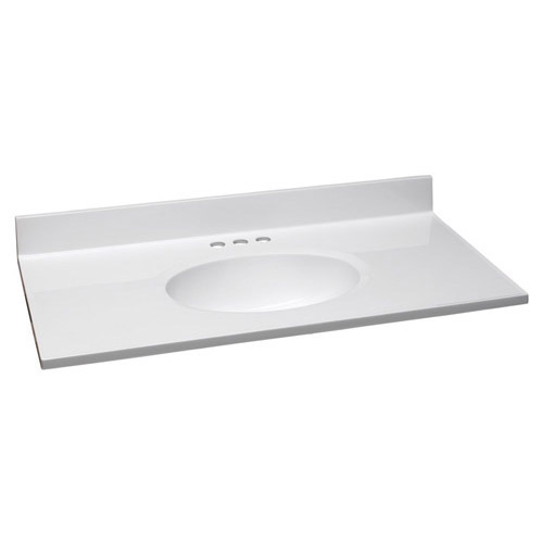 Design House Single Bowl Marble Vanity Top, 37inch by 19inch, Solid White - 551341