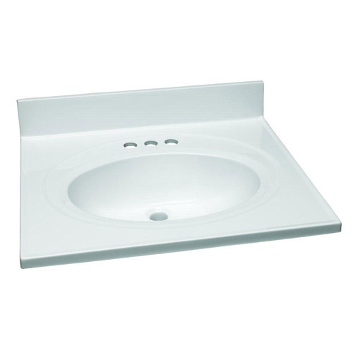 Design House Single Bowl Marble Vanity Top, 25inch by 22inch, Solid White - 551366