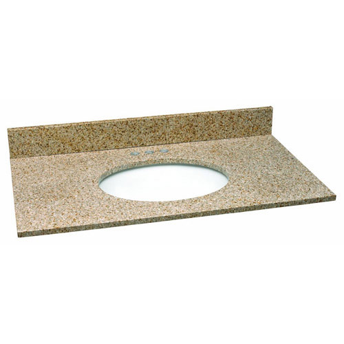 Design House Single Bowl Granite Vanity Top, 37inch by 22inch, Golden Sand - 552489