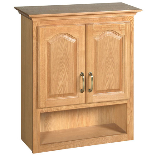 Design House Richland Nutmeg Oak Bathroom Wall Cabinet with 2-Doors, 26.7in x 30in - 552844