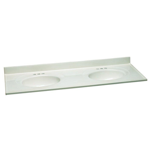 Design House Double Bowl Marble Top, 61inch by 22inch, White - 553347