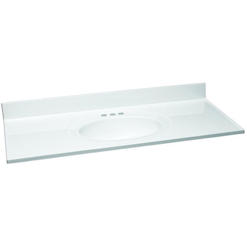 Design House Single Bowl Cultured Marble Vanity Top, 61in x 22in, White - 553396