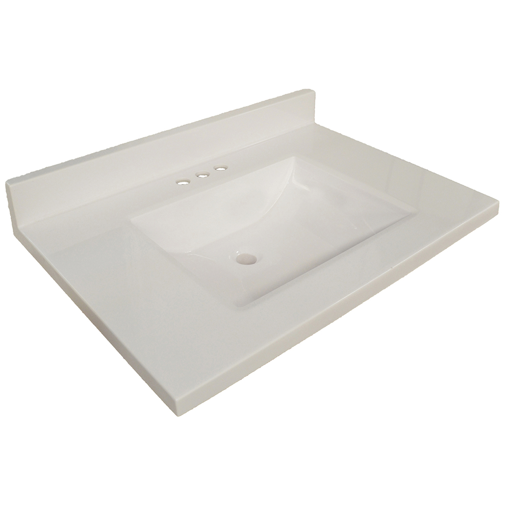 Design House Wave Bowl Premium Granite Vanity Top, 25-inches by 22-inches, Solid White - 554022