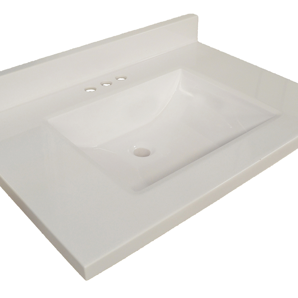 Design House Wave Bowl Premium Granite Vanity Top, 37-inches by 22-inches, Solid White - 554048