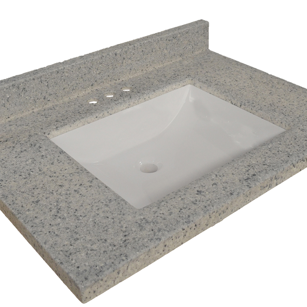Design House Wave Bowl Cultured Marble Vanity Top, 25-inches by 22-inches, Moonscape Grey - 557546