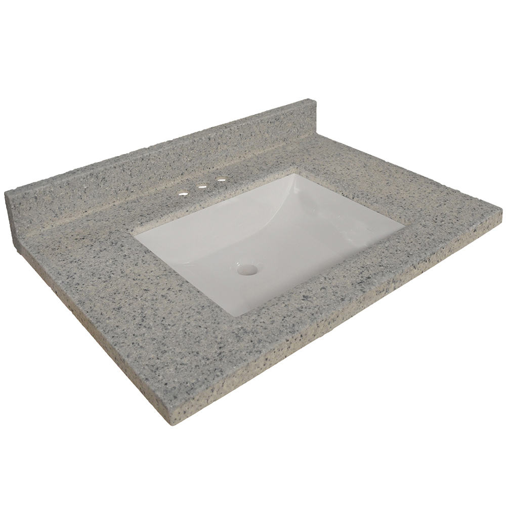 Design House Wave Bowl Cultured Marble Vanity Top, 31-inches by 22-inches, Moonscape Grey - 557553