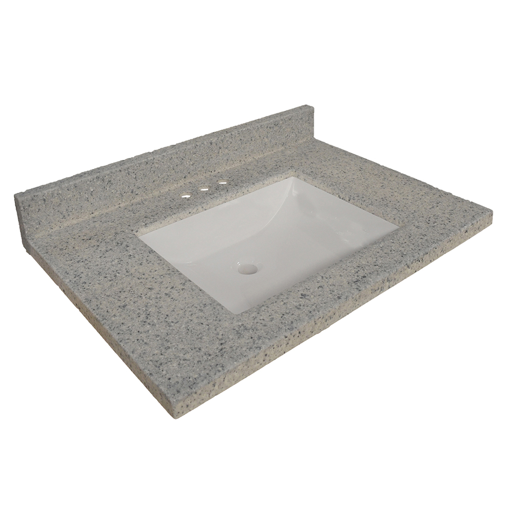 Design House Wave Bowl Cultured Marble Vanity Top, 37-inches by 22-inches, Moonscape Grey - 557561