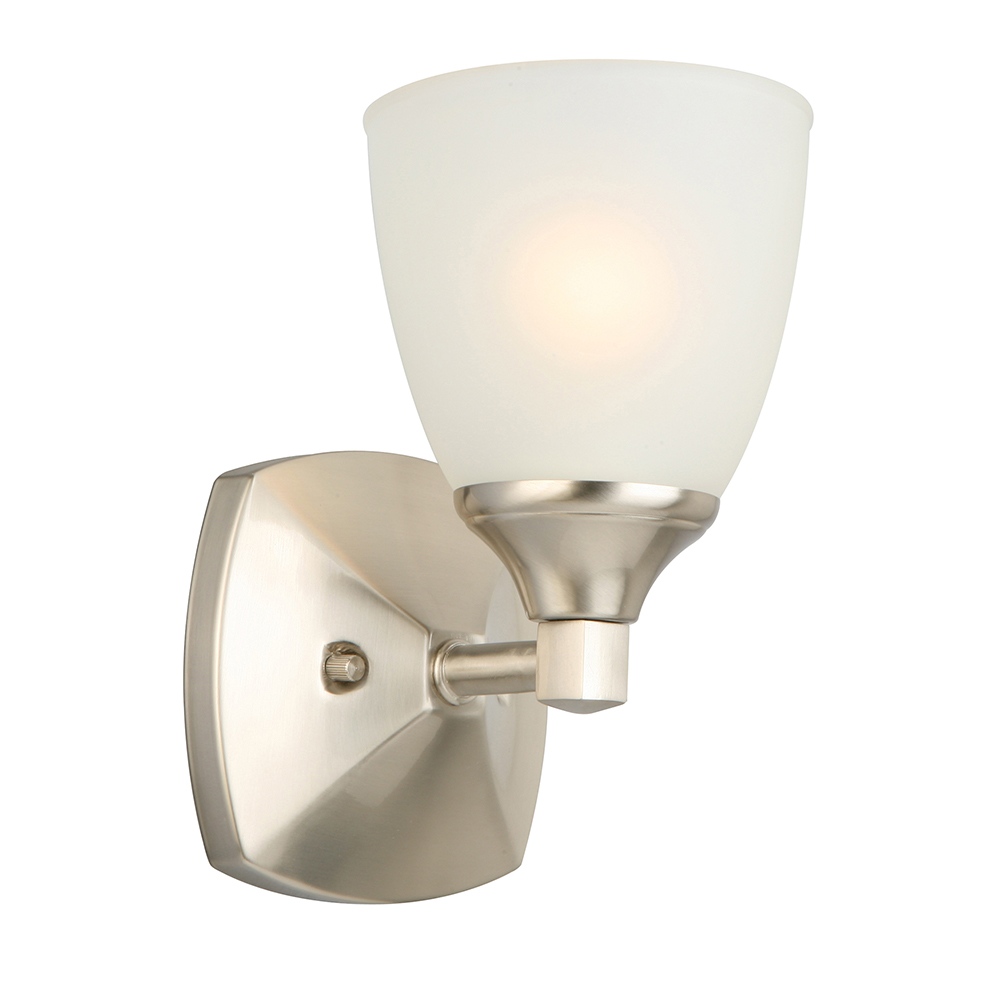 Design House Perth One-Light Wall Mount Light, Satin Nickel Finish - 578328