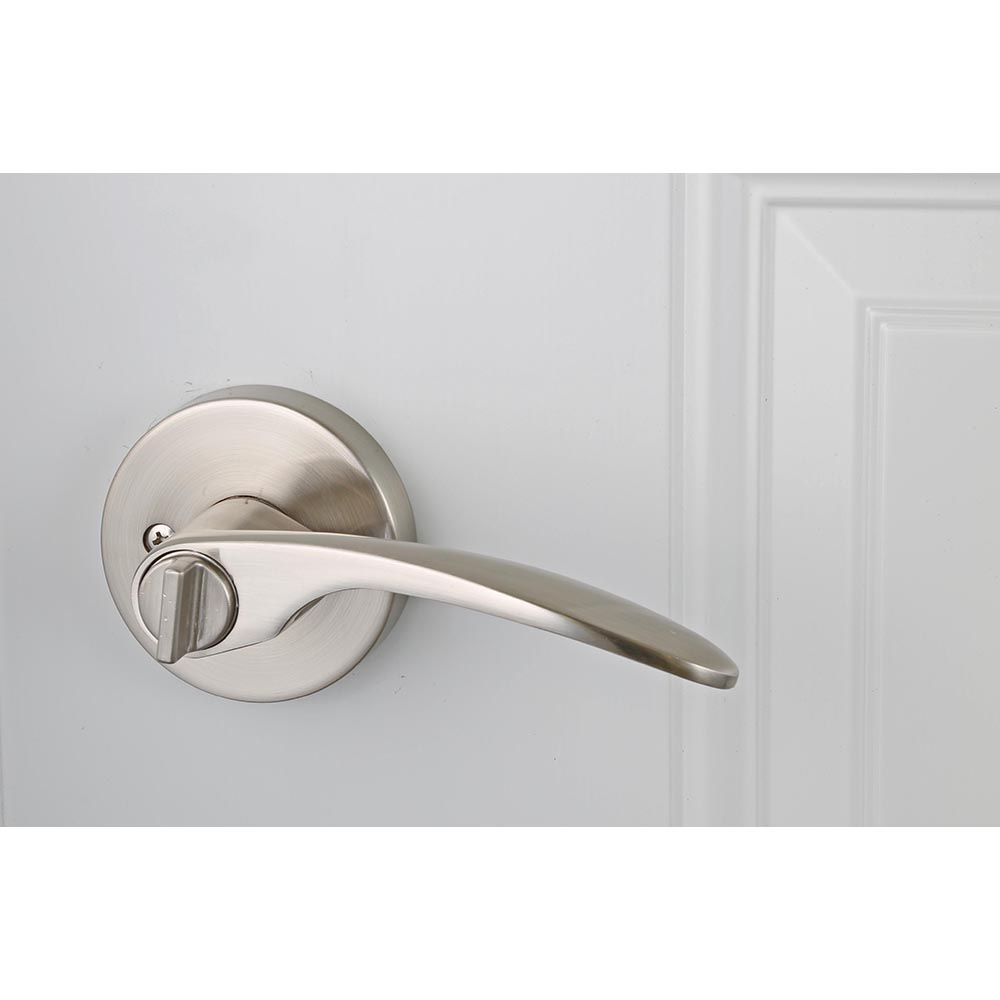 Design House Ronan Bed and Bath Lever, Reversible for Left or Right Handed Doors, Satin Nickel Finish - 581264