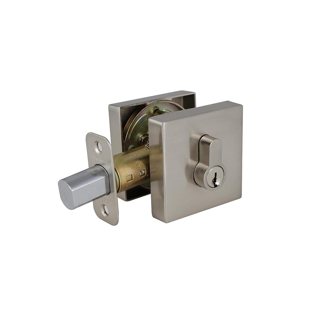 Design House Emblem Square Single Cylinder Deadbolt 2-Way Adjustable Lockset, Satin Nickel - 581835