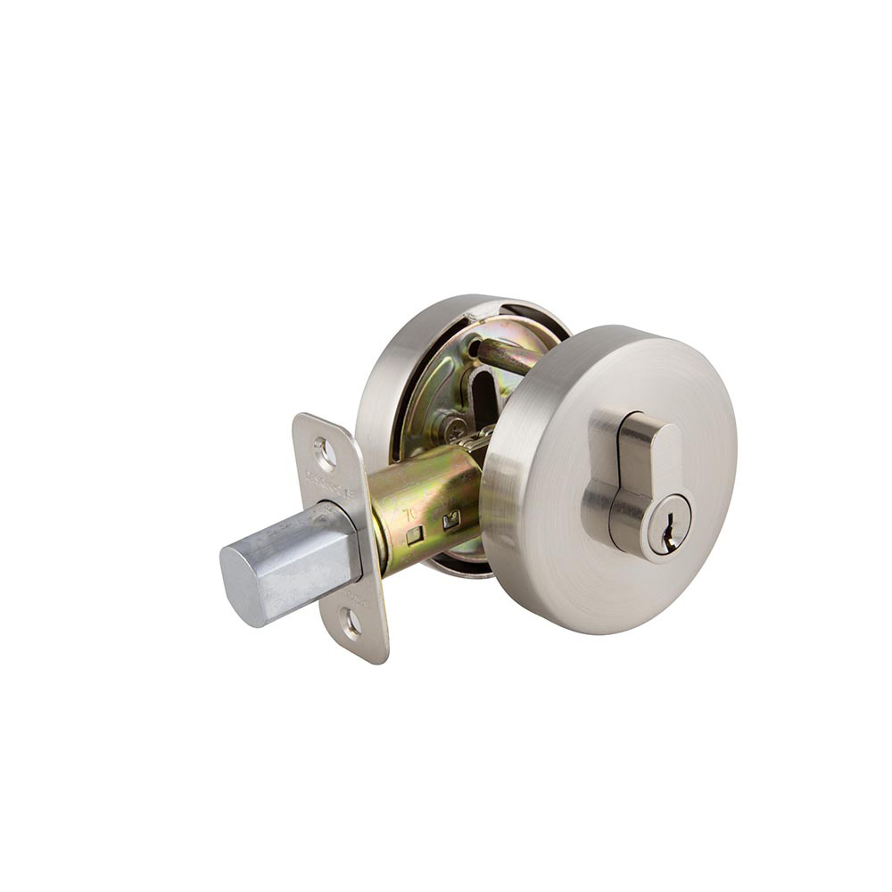 Design House Emblem Round Single Cylinder Deadbolt 2-Way Adjustable Lockset, Satin Nickel - 581868