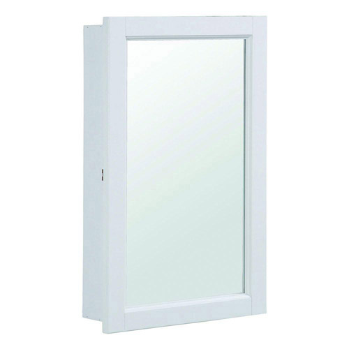 Design House Concord White Gloss Medicine Cabinet Mirror with 1-Door and 2-Shelves, 16in x 5.25in x 26in - 590505