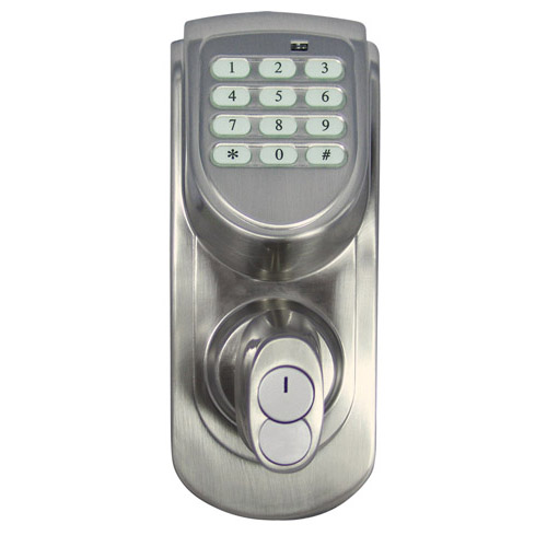 Design House Keypad Deadbolt, Adjustable Backset, Satin Nickel Finish - 702530