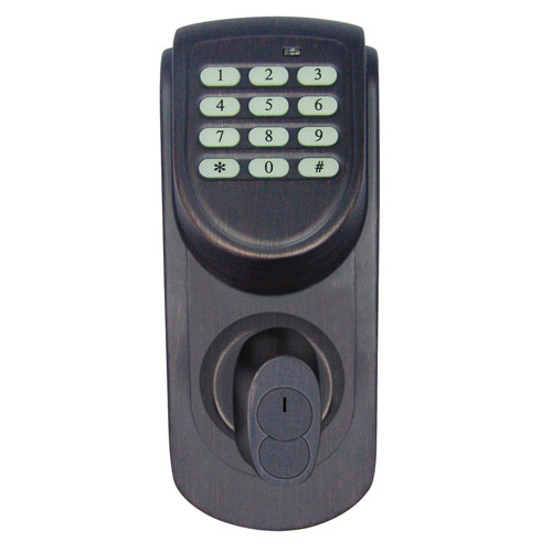 Design House Keypad Deadbolt, Adjustable Backset, Brushed Bronze Finish - 702548