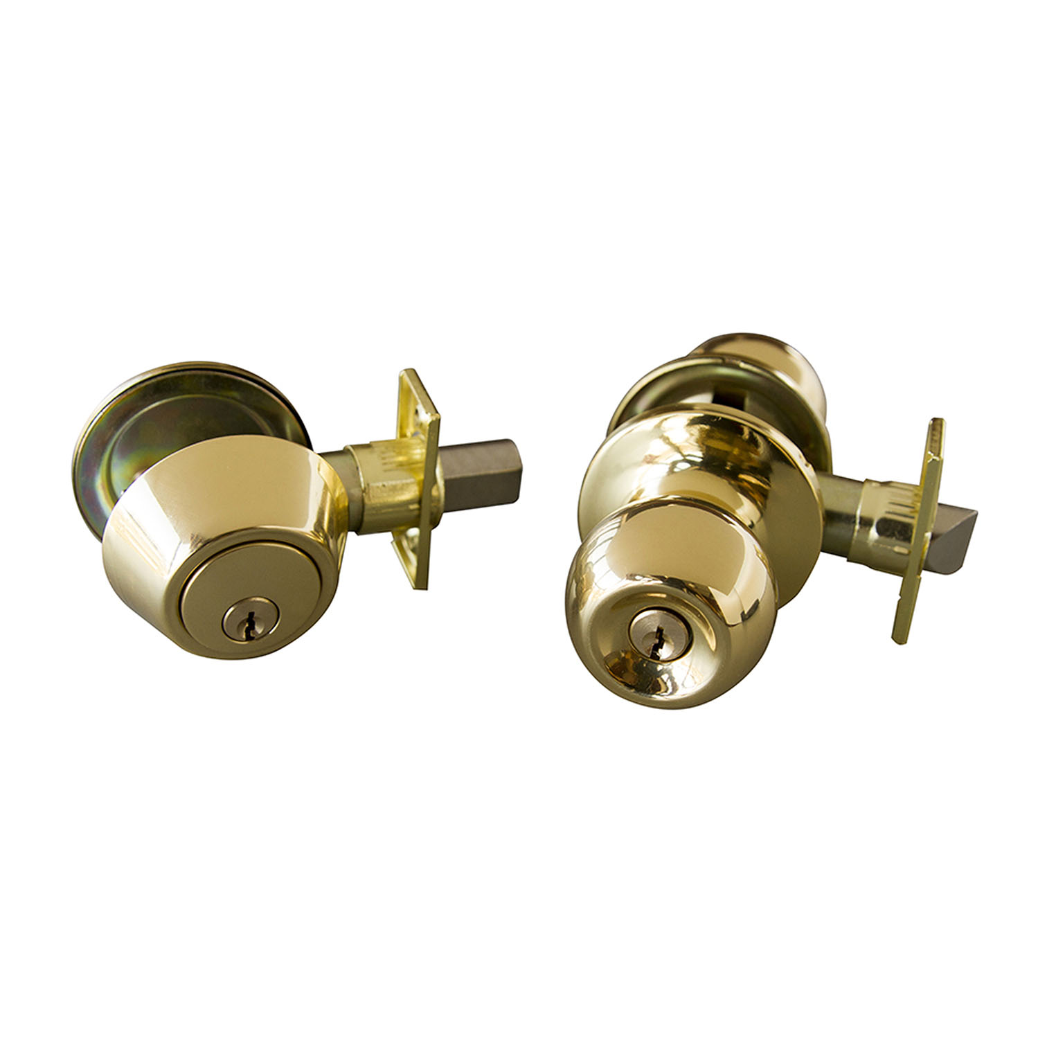 Design House Bay 6-Way Latch Entry Door Knob and Deadbolt Combo, Polished Brass - 727040