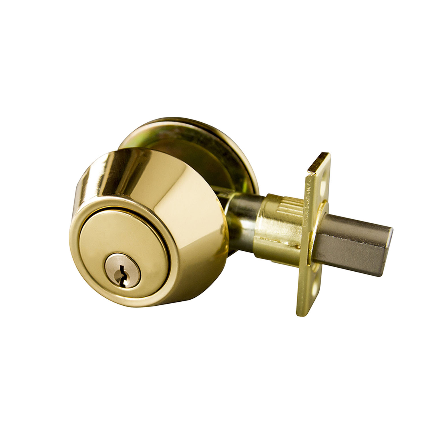 Design House Single Cylinder Deadbolt, Polished Brass - 727438