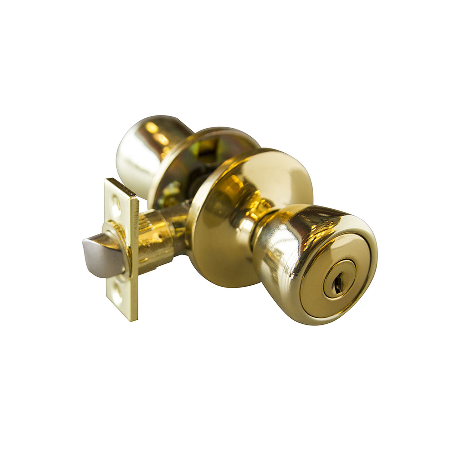 Design House Terrace 6-Way Latch Entry Door Knob, Polished Brass - 728295