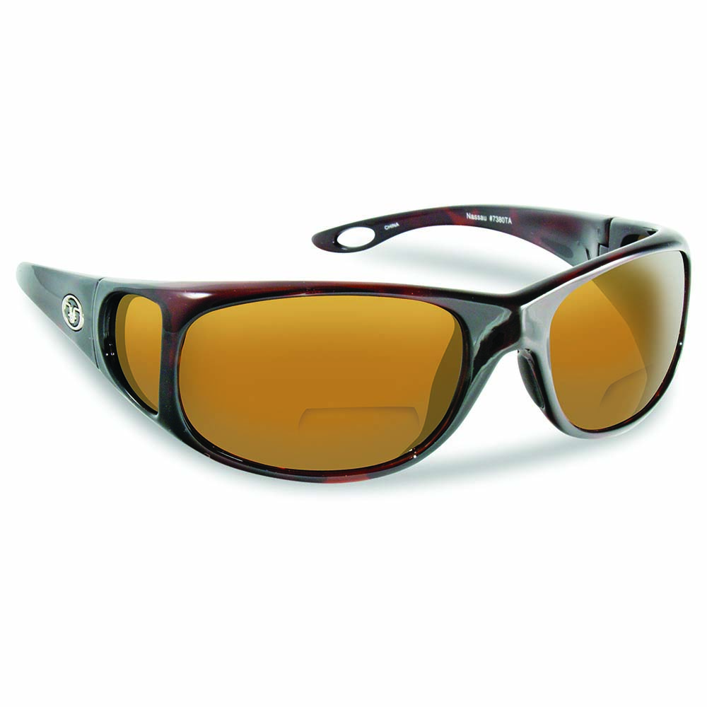 Flying Fisherman 7380TA-200 Nassau Polarized Sunglasses, Tortoise Frames With Amber Reader +2.00 Lenses
