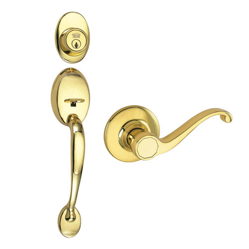 Design House Coventry 2-Way Latch Entry Handle Set with Lever, Keyway and Door Handle, Polished Brass Finish - 740894