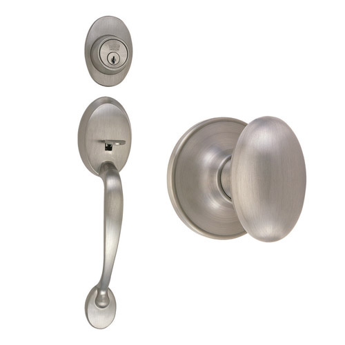 Design House Coventry 2-Way Latch Entry Handle Set with Egg Knob, Keyway and Door Handle, Satin Nickel Finish - 740928