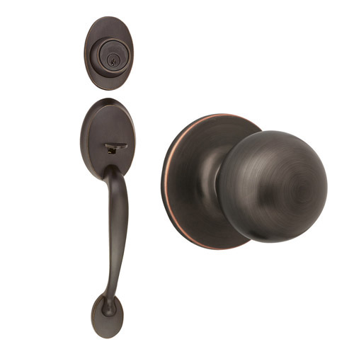 Design House Coventry 2-Way Entry Handle Set with Ball Knob, Keyway and Door Handle, Oil Rubbed Bronze Finish - 741017