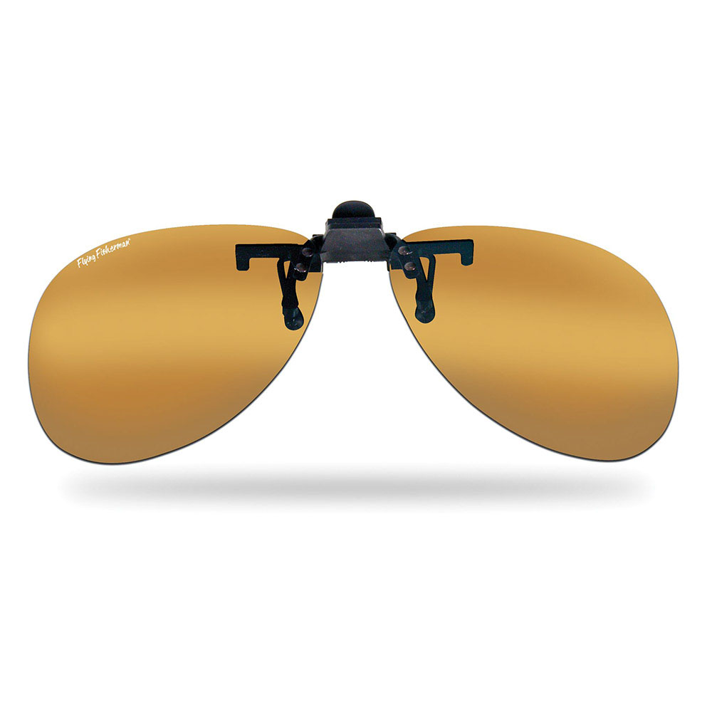 Flying Fisherman 7503A Flip-Up Clip-On/Teardrop Sunglasses in Amber