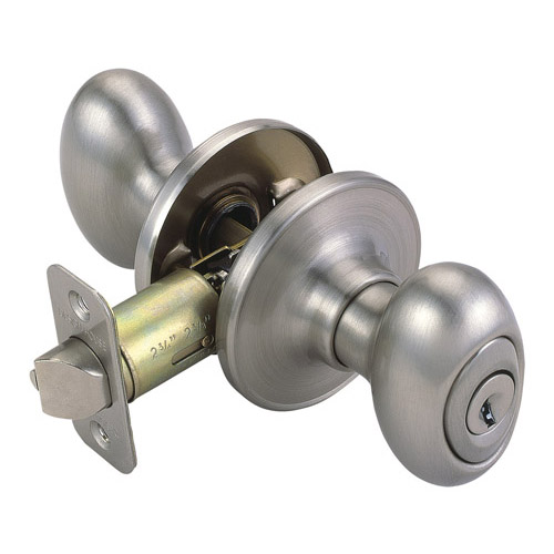 Design House Egg 2-Way Latch Entry Door Knob, Adjustable Backset, Satin Nickel Finish - 750505