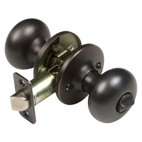 Design House Cambridge 2-Way Latch Privacy Door Knob, Adjustable Backset, Oil Rubbed Bronze Finish - 753459