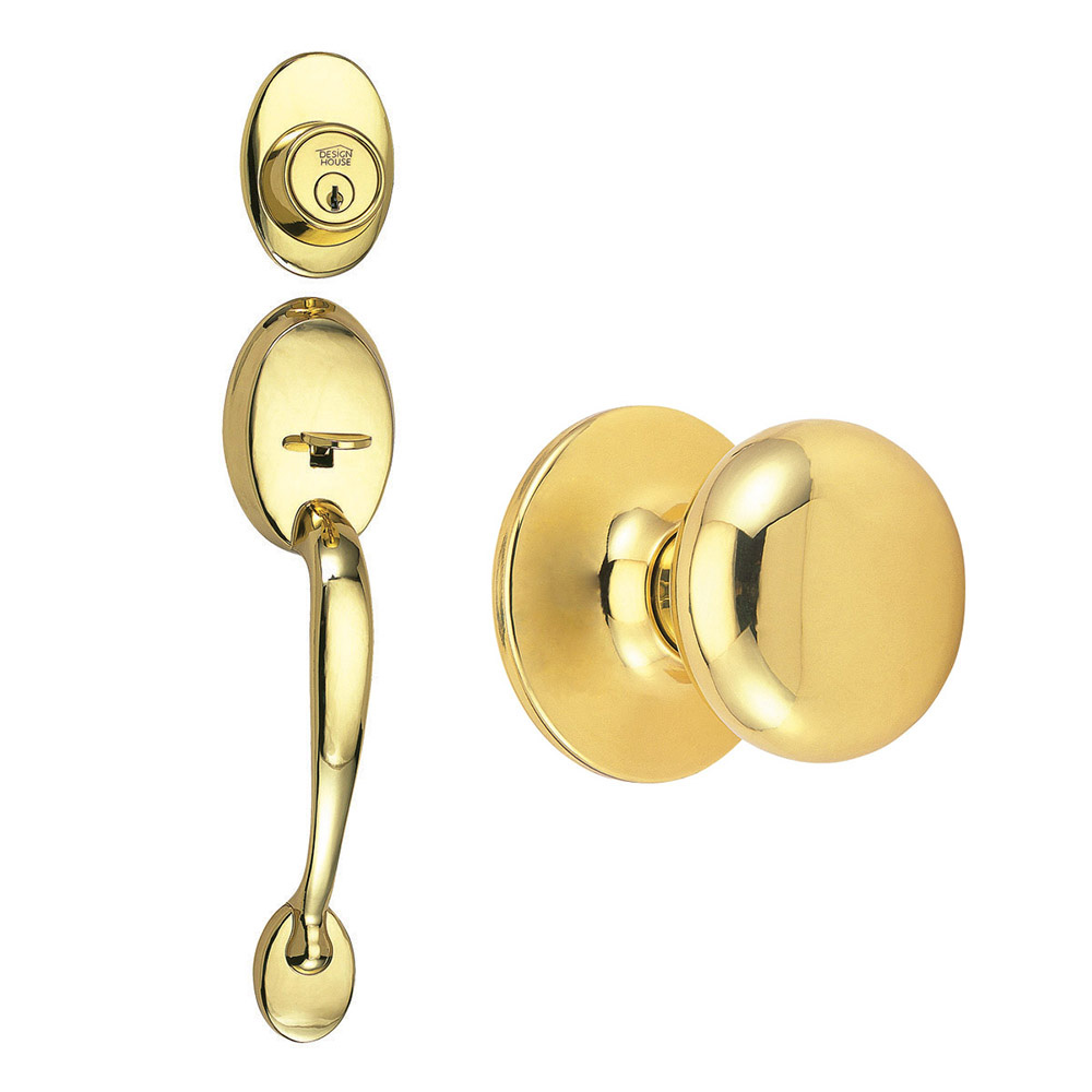Design House Coventry 2-Way Latch Entry Door Handle Set with Knob, Handle and Keyway, Polished Brass Finish - 753525