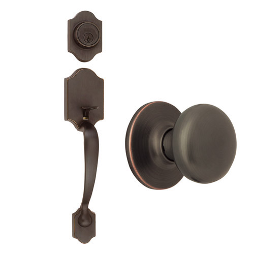 Design House Sussex 2-Way Latch Entry Door Handle Set with Egg Knob, Handle and Keyway, Oil Rubbed Bronze Finish - 753624