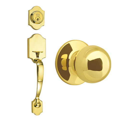 Design House Sussex 2-Way Latch Entry Door Handle Set with Knob Handle and Keyway Polished Brass Finish - 753640