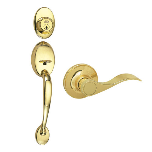 Design House Coventry 2-Way Entry Door Handle Set with Lever, Handle and Keyway, Polished Brass Finish - 754481