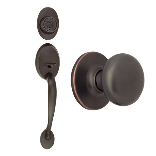 Design House Coventry 2-Way Latch Entry Door Handle Set with Knob Handle and Keyway, Oil Rubbed Bronze Finish - 754564