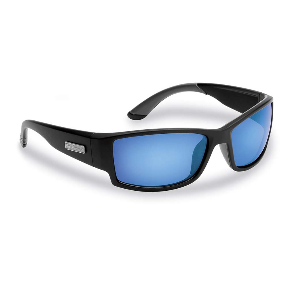 Flying Fisherman 7717BSB Razor Polarized Sunglasses, Matte Black Frames, Smoke-Blue Mirror Lenses